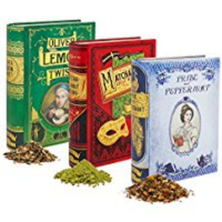 Noveltea tins-Pride and Peppermint tea, Matcha Ado About Nothing tea, and Oliver Lemon Twist tea #books #tea